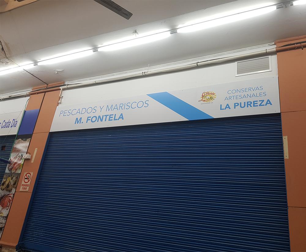 Rótulo para Pescados y Mariscos M. Fontela